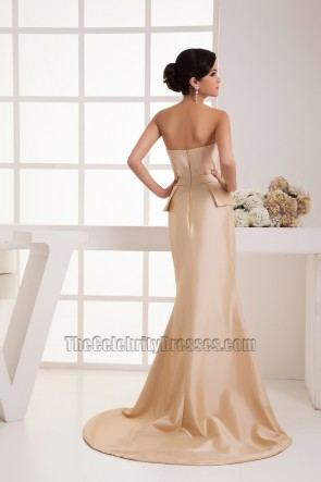 Elegant Champagne Strapless Taffeta Formal Dress Prom Gown