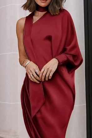 Elegant Orange One-shoulder Side Slit Dress