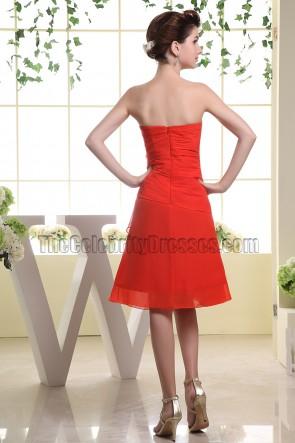 Roter Schatz Chiffon Cocktailkleid Brautjungfernkleid