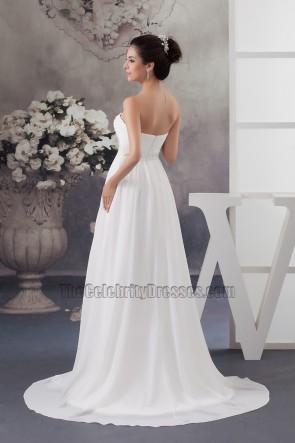 Elegant Strapless A-Line Chiffon Wedding Dress Bridal Gown