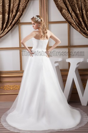Elegant Strapless A-Line Embroidered Chapel Train Wedding Dresses