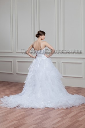 Elegant Strapless Beaded A-Line Chapel Train Wedding Dress