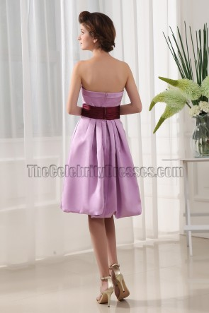 Trägerloses knielanges Cocktailkleid Abschlusskleid Brautjungfernkleid