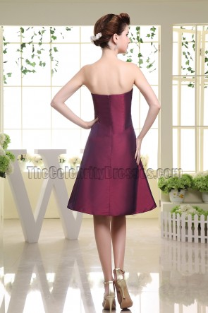 Strapless Short Taffeta Bridesmaid Dress Cocktail Dresses