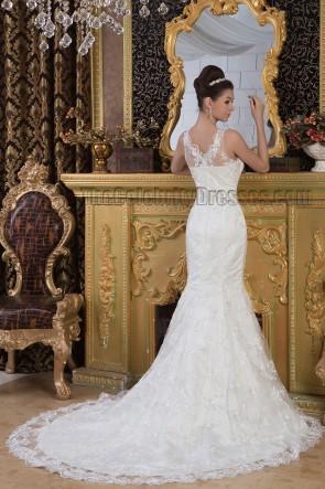 Elegante Trompete / Meerjungfrau Spitze ärmelloses Brautkleid Ballkleid
