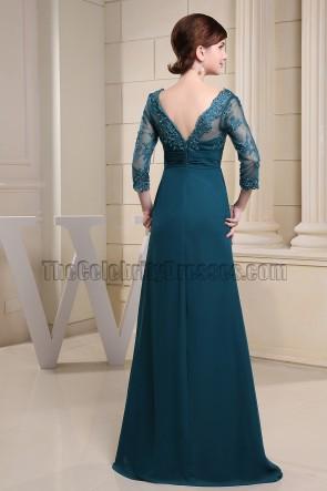 Elegant V-Neck Lace Chiffon Formal Dress Prom Evening Gowns