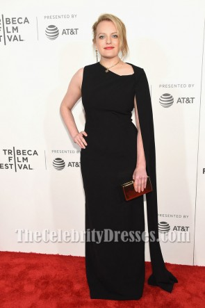 Elisabeth Moss Black Column Evening Dress Tribeca Film Fest Premiere Of 'The Handmaid's Tale'
