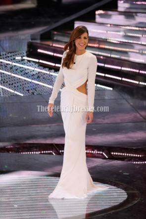 Elisabetta Canalis White Cut Out Gown Prom Dress Sanremo Music Festival 2011