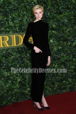 Elizabeth Debicki Schwarzes High-Neck Abend Abendkleid London Abend Standard Theater Awards
