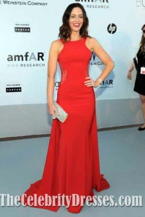 Emily Blunt Hot Red Evening Prom Gown 2010 Cannes Film Festival