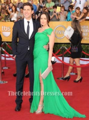 Emily Blunt Grünes Schulter-Abschlussball-Kleid 2012 SAG Awards Roter Teppich