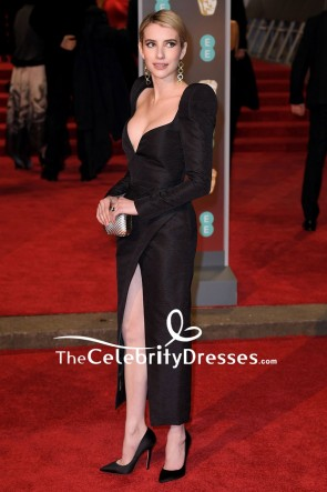Emma Roberts Black V-neck Thigh-high Slit Evening Cocktail Dress EE British Academy Film Awards 2018 TCD7748