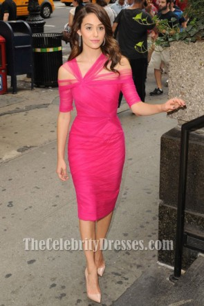 Emmy Rossum Fuchsia Tulle Cocktail Dress Celebrity Party Dresses