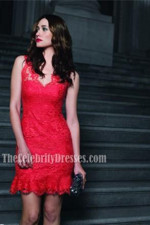 Emmy Rossum Rote Spitze Cocktailkleid Party Kleider 'Das Gewebe meines Lebens'