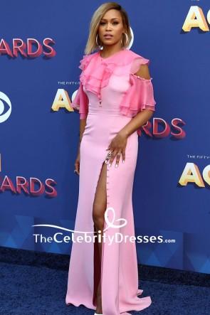 Eve Pink Cold-shoulder Thigh-high Slit Evening Formal Dress 2018 ACM Awards TCD7853
