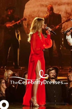 Faith Hill - Rotes Chiffon-Oberschenkel-hohes, geschlitztes Abendkleid mit langen Ärmeln 2017 CMA-Awards Roter Teppich