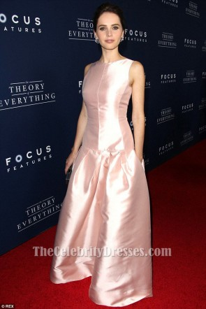 Felicity Jones Pink Evening Dress 'The Theory Of Everything' LA Premiere