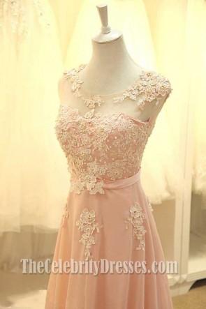 Bodenlangen Perle rosa Abendkleid Brautjungfer Kleider