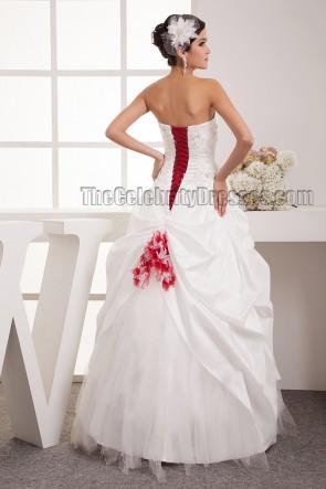 Bodenlange A-Linie trägerlosen Schatz Schnür Brautkleid