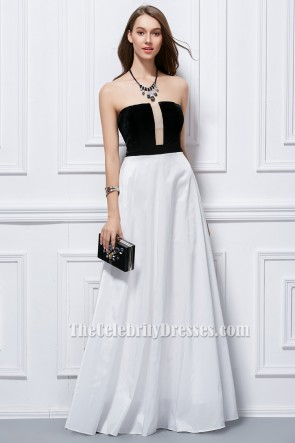 Floor Length Black And White Strapless Evening Formal Dresses TCDBF200