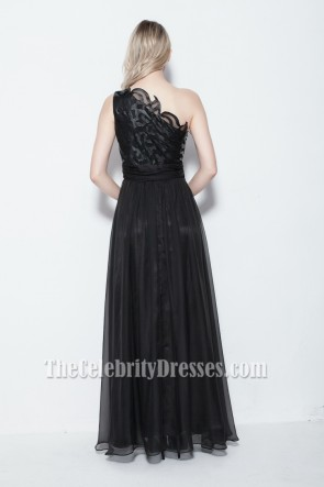 Floor Length Black One Shoulder Prom Gown Evening Dresses