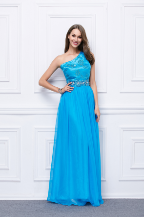 Floor Length Blue One Shoulder Prom Gown Evening Dress TCDBF449