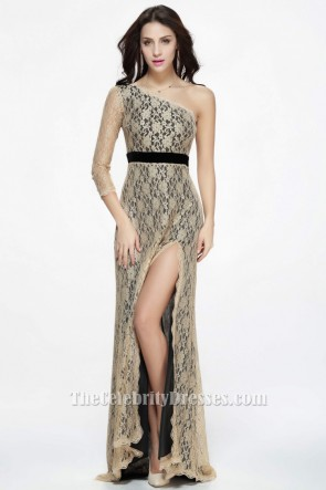 Floor Length Champagne Lace One Sleeve Evening Formal Dresses TCDBF078