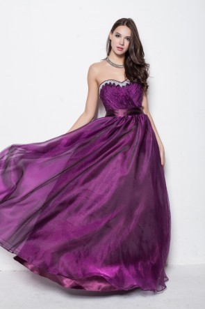 Floor Length Purple Strapless Sweetheart A-Line Evening Prom Dresses TCDBF007