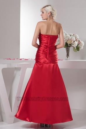 Floor Length Red Strapless A-Line Prom Gown Evening Dresses