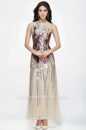 Floor Length Sequined Champagne Tulle Formal Gown Evening Prom Dress TCDBF075