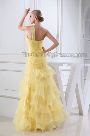 Floor Length Yellow One Shoulder Organza Formal Dress Prom Gown