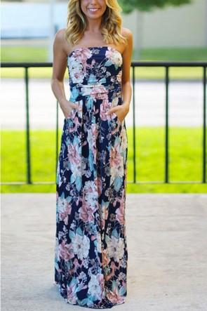 Floral Print Pocket Bandeau Dress