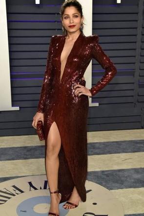 Freida Pinto Sex Burgundy Sequins Slit Prom Dress  2019 Vanity Fair