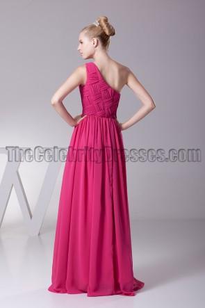 Fuchsia ein Schulter Abendkleid Ballkleid