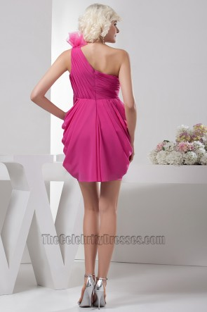 Fuchsia Short One Shoulder Party Homecoming Dresses