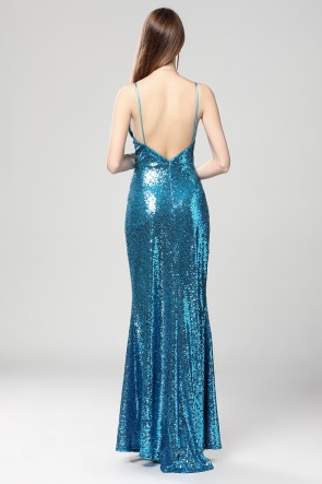 Full Length Blue Deep V-Neck Sequins Backless Evening Dresses TCDBF2016