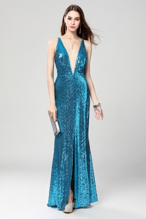 Full Length Blue Deep V-Neck Sequins Backless Evening Dresses
