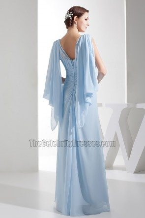 Full Length Light Sky Blue Chiffon Prom Gown Evening Dresses