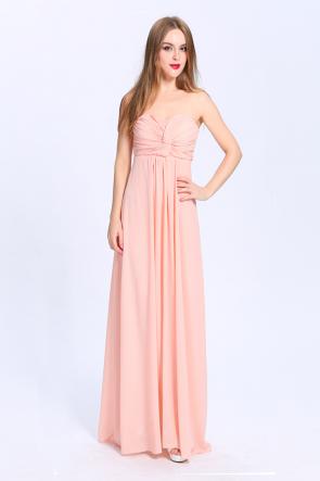 Full Length Strapless Sweetheart Chiffon Bridesmaid Prom Dresses TCDBCk419