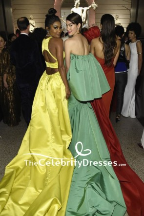 Gabrielle Union Yellow Thigh-high Slit Evening Formal Dress 2018 Met Gala Red Carpet Gown TCD7869