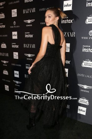 Gigi Hadid Schwarz Einschulter Tüll Abendkleid 2018 Harper's Bazaar Icons