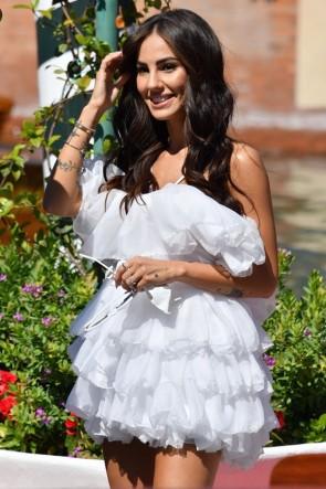 Giulia De Lellis Ruffled Little White Dress 2020 Venice Film Festival