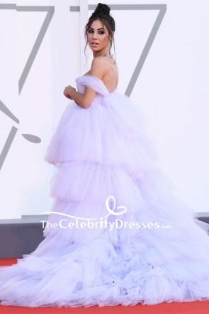 Giulia De Lellis White Off-the-shoulder High Low Formal Gown 2020 Venice Film Festival
