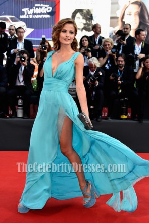 Giulia Electra Goretti-blaues Abschlussball-Kleid 'Birdman' Premiere 71. Venedig Film Festival