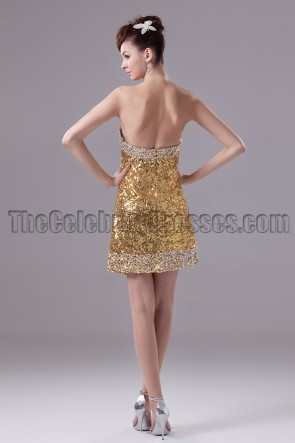 Gold Mini Sequins Straplesed Party Cocktail Dresses