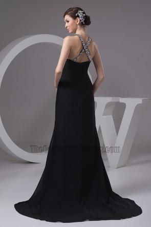 Sexy Schwarz Silber Pailletten Abendkleid Abschlussballkleid