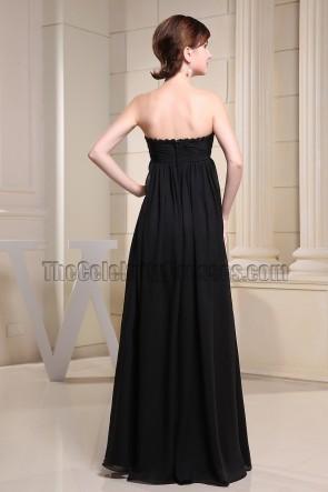 Floor Length Black Strapless Chiffon Prom Dress Evening Dresses