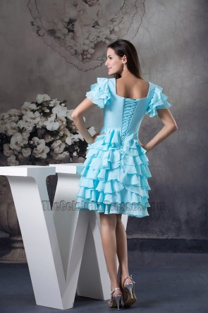 Gorgeous Blue Ruffles Graduation Homecoming Dresses