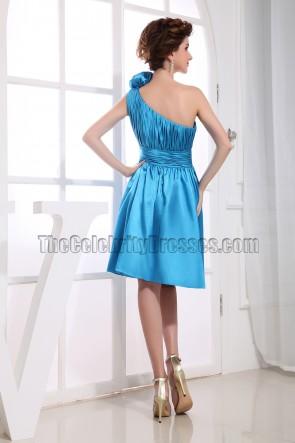 Blaue eine Schulter Cocktailkleid Partykleid Brautjungfernkleid