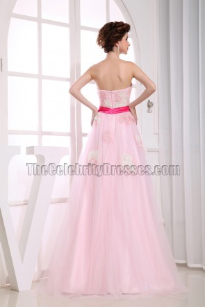 A-Line Pink Sweetheart Prom Gown Evening Dresses
